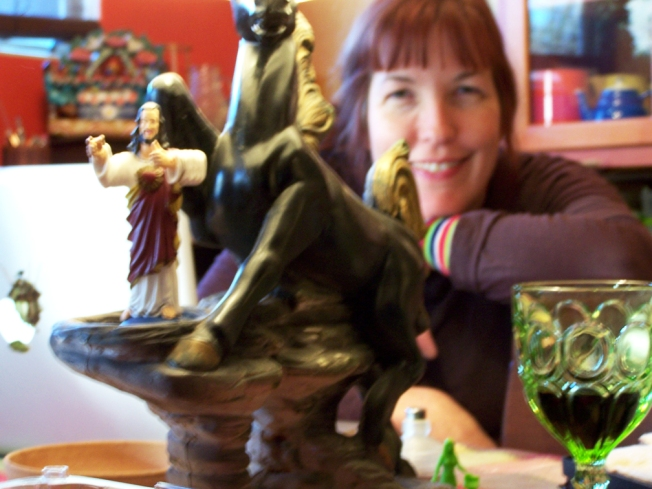 kate-and-the-buddy-christ, photo by Jeannette Cook, 2010