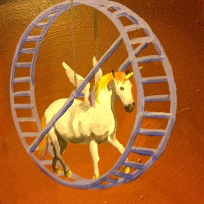 Unicorn in a Hamster Wheel, detail of a mural on Congress St. by Joe Pagac