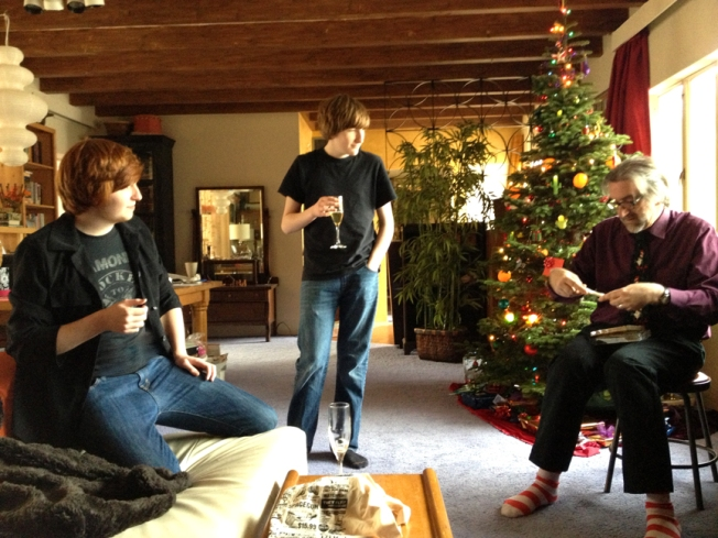 Liam, Evan and Bill McKinnon, Christmas 2012