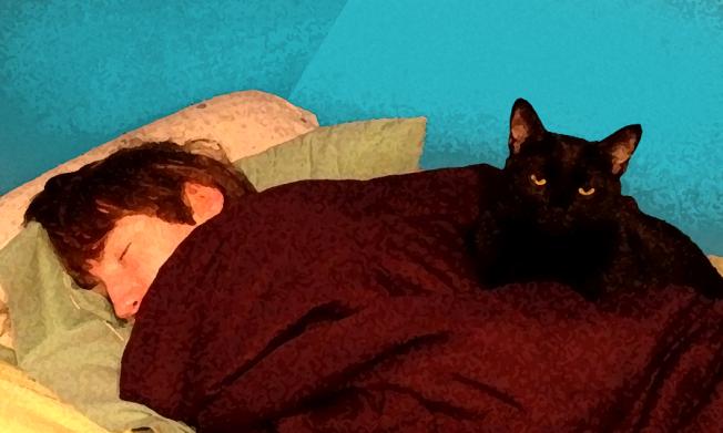 Evan sleeping, Wyatt watching, Kate McKinnon 2012