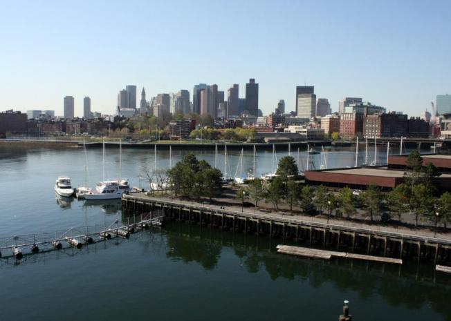 View of Boston from the USS Constitution's fighting top