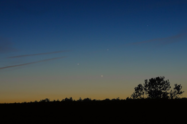 Triple Planetary Conjunction, photographed in Payson AZ, May 26, by Chris Schur