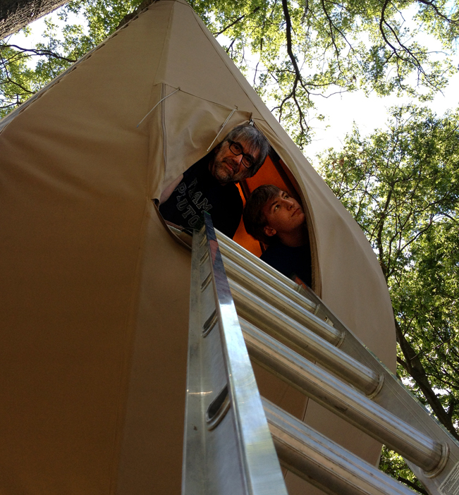 Bill and Evan in the Pear Tent