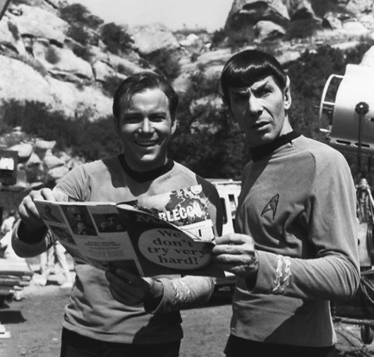 Kirk and Spock with a Mad Magazine