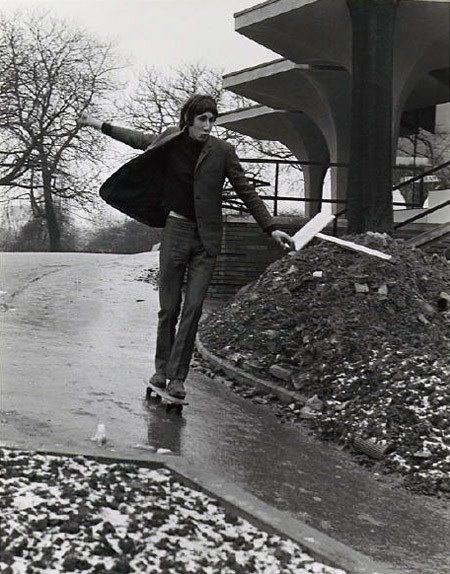 Pete Townswend on a skateboard, photographer unknown, from Retronaut