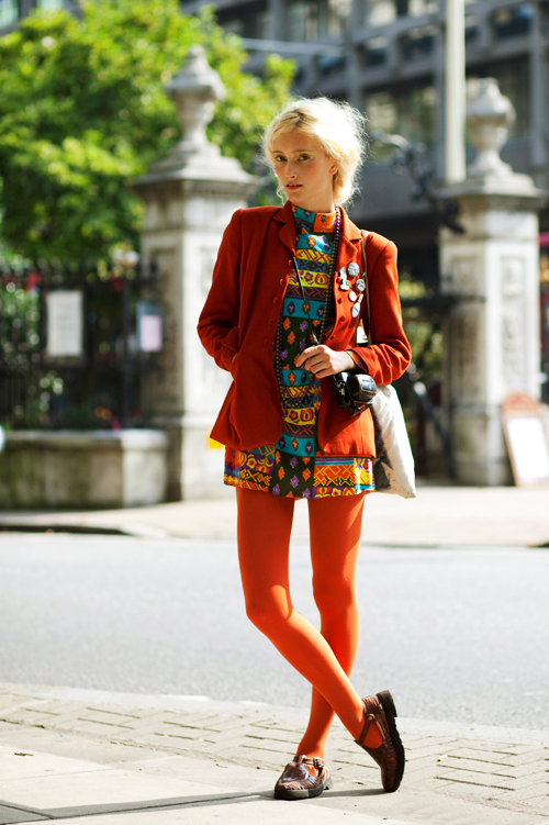 Orange Tights from The Sartorialist