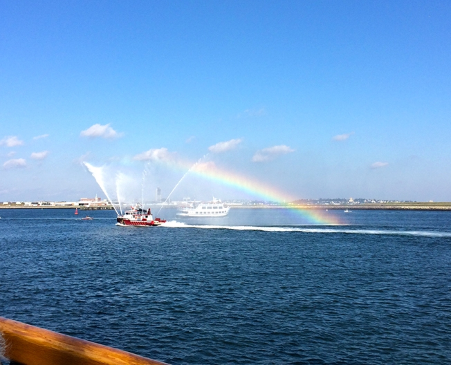 Rainbows off of the Fire Boat