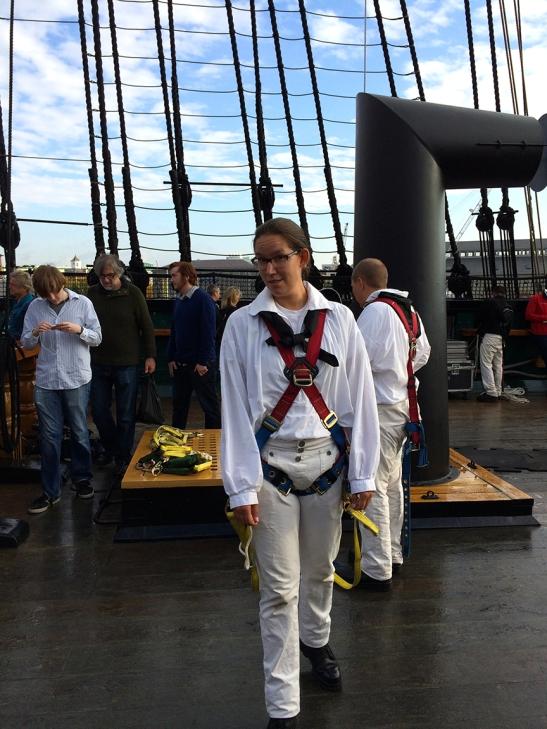 Bri Date in harness before going aloft