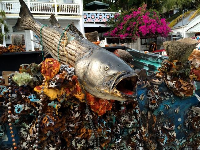 key west fish on an art car