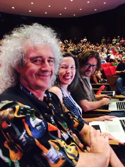 Brian May, Kate McKinnon and Kyle Cassidy at Pluto Encounter