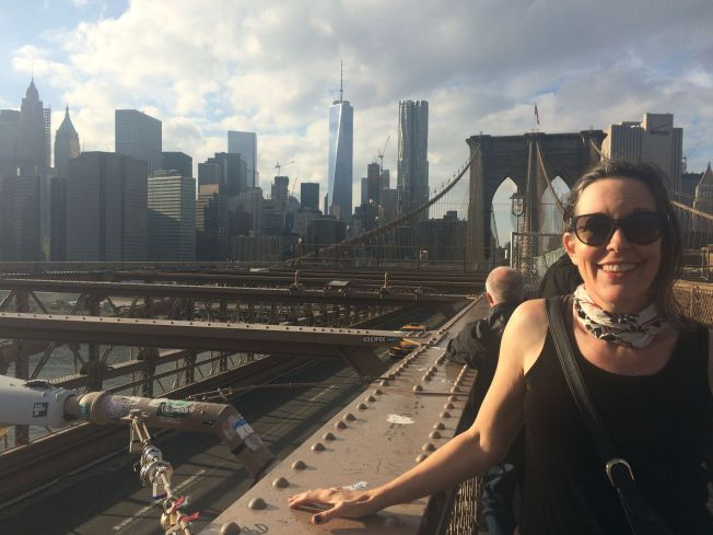 Kate on the Brooklyn Bridge